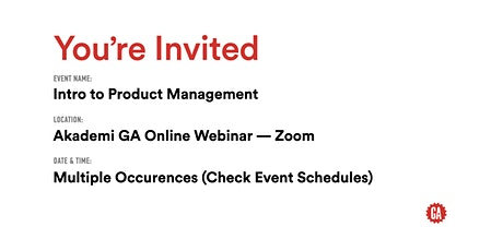 Intro to Product Management | Akademi GA tickets