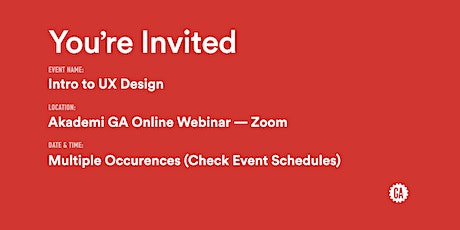 Intro to UX Design | Akademi GA tickets