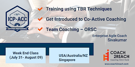ICAgile ICP-ACC Agile Coach Certification Online (2 WeekEnds) USA/Australia tickets
