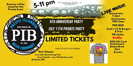 6th Anniversary Event Pacific Islander Beer Co tickets