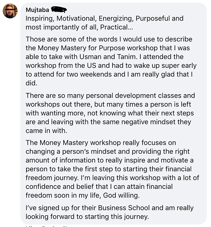 Money Mastery for Purpose -  ONLINE EXPERIENCE - May 2021 image