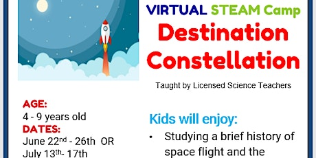 Tumbles VIRTUAL Destination Constellation STEAM Camp July 13th- July 20th tickets