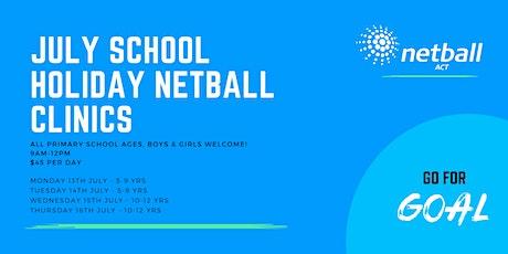 Netball ACT JULY School Holiday Clinics tickets