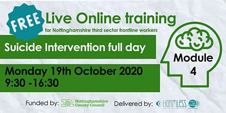 FREE Module 4 Suicide Intervention ONLINE training (Notts county workers) tickets