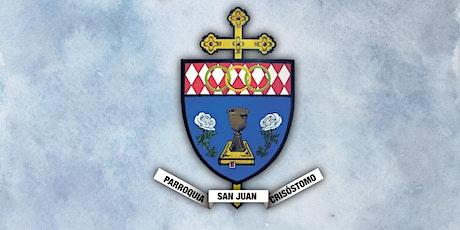 Regístrese para la misa dominical en la parroquia de San Juan Crisóstomo billets