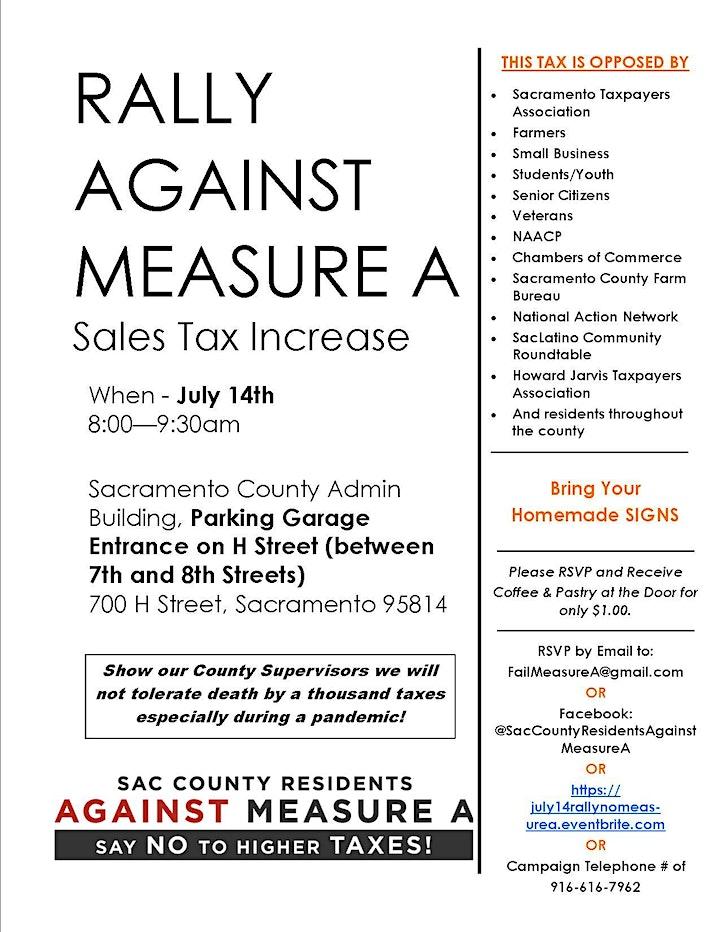 No on Measure A Rally - Sacramento County Board of Supervisors image