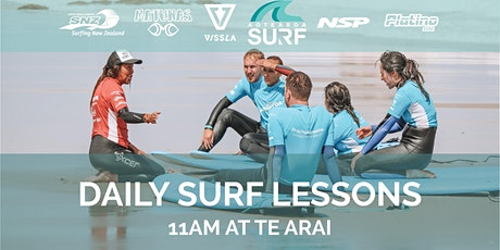 Daily Surf Lesson (All Ages) 11am at Te Arai tickets