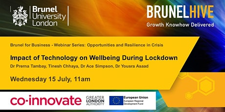 Brunel for Business -  Impact of Technology on Wellbeing during Lockdown tickets