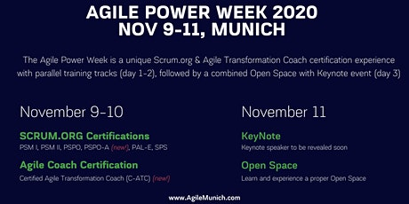 Agile Powerweek Munich | 2 Days Certified Trainings + 1 Day Open Space with Keynote tickets