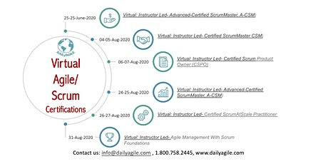 Virtual/Live - Certified ScrumMaster (CSM) with DailyAgile tickets
