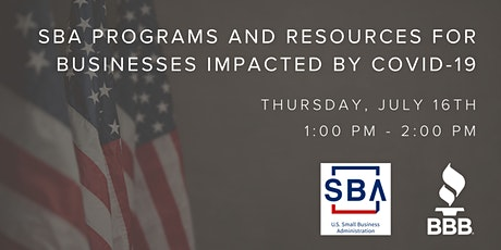 Webinar: SBA Programs and Resources for Businesses Impacted by COVID-19 tickets
