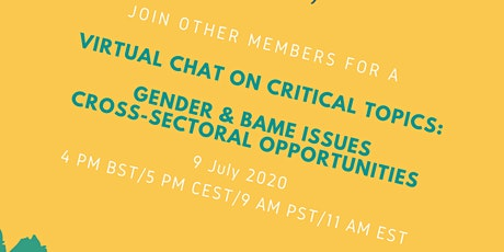 Working in water: virtual chat on gender, BAME and cross-sectoral issues tickets