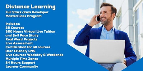 Live Instructor Led Distance Learning Full Stack Java Developer MasterClass billets