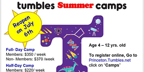 Tumbles of Princeton- OUTDOOR Camps  Age 3.5 -10.   20% OFF tickets