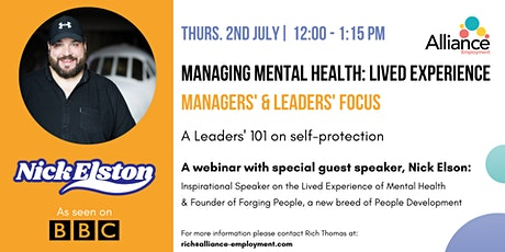 Managing Mental Health: Lived Experience | Manager/Leaders Focus tickets