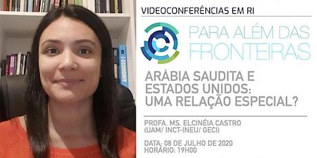 """""""Para além das Fronteiras: videoconferências em RI""""- Profa  Elcinéia Castro bilhetes"""