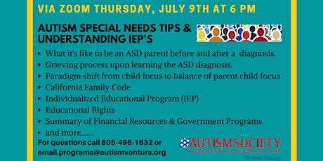 Autism Special Needs Tips and Understanding IEP's tickets