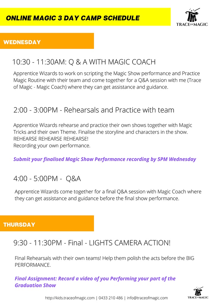 Virtual (Attend from home) 3 DAY Magic CAMP for Kids - Age 7+ image