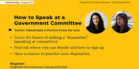Summer Training Series: How to Speak at a Government Committee. tickets