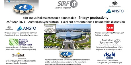 VICTAS IMRt Improving Energy Productivity Roundtable - Australian Synchrotron tickets
