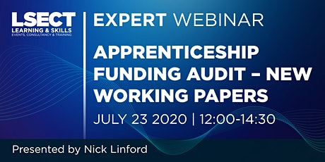 Webinar | Apprenticeship funding audit – new working papers. tickets