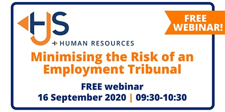"FREE HR Webinar ""Minimising the Risk of an Employment Tribunal"" from HJS Human Resources in Salisbury boletos"