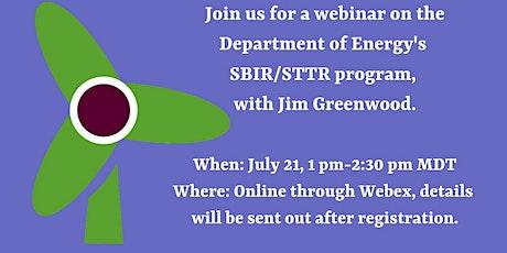 Webinar on the Department of Energy's SBIR/STTR program. tickets