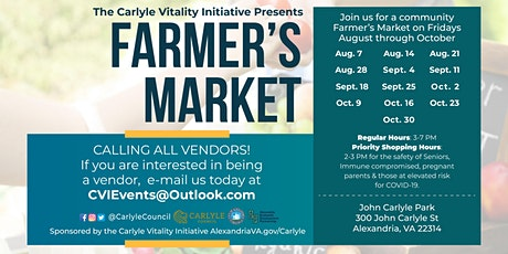 A New Farmers Market starts on August 7th! Rain or Shine! tickets