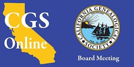 Online - CGS Monthly Board Meeting tickets