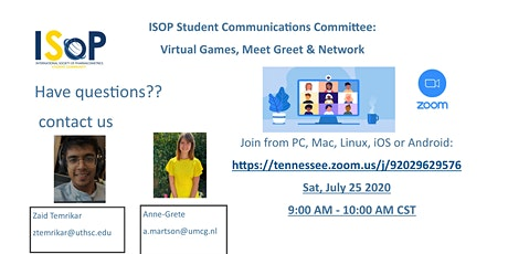 ISOP Student Communications Committee:  Virtual Games, Meet Greet Network tickets