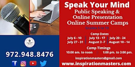 Public Speaking & Online Presentation Summer Camps (Online) tickets
