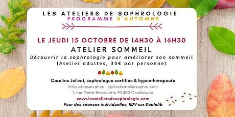 Atelier de sophrologie Courbevoie :  Améliorer son sommeil billets