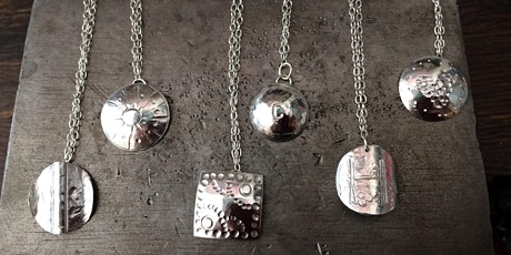 Matching silver necklace and earring making workshop tickets