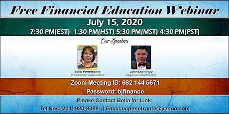Free Financial Education Webinar tickets