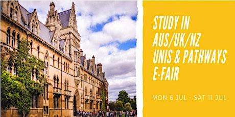 Study in Australia, UK, NZ Unis & Pathways E-Fair tickets