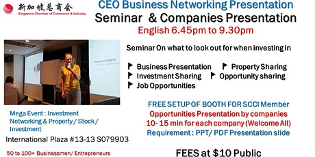 CEO Networking & Startup Entrepreneur Presentation & Pitching ($10 per Pax) tickets