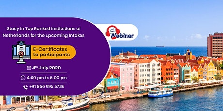 Study in Top Ranked Institutions of Netherlands for the upcoming intakes!!! tickets