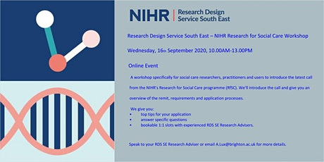 Research Design Service South East - NIHR Research for Social Care Workshop tickets