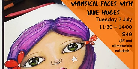 Whimsical Faces - Mixed media workshop for kids tickets