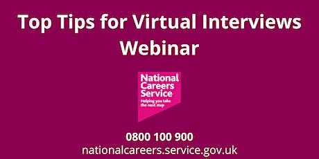 WEBINAR: Top Tips for Virtual Interviews ingressos