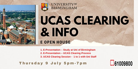 University of Birmingham UCAS Clearing & Info eOpenHouse for Singapore tickets
