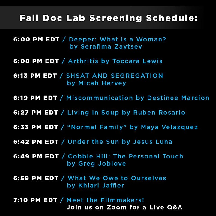 Reel Works: Virtual Screening of Fall Documentary Lab - Class of 2019 image