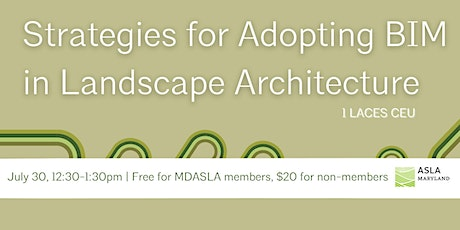 Strategies for Adopting BIM in Landscape Architecture  tickets