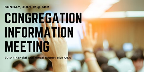 Congregation Information Meeting - July 12 @ 6:00pm tickets