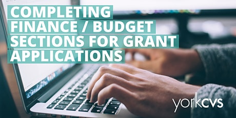 Completing finance/budget sections for grant applications tickets