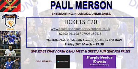 Paul Merson @ Pompey tickets