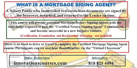 """""""LIVE"""" ONLINE - CERTIFIED MORTGAGE SIGNING AGENT COURSE - AUGUST 29, 2020 tickets"""
