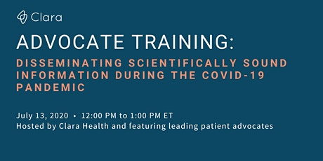 Advocate Training: Sharing Scientifically Sound Info During COVID-19 tickets