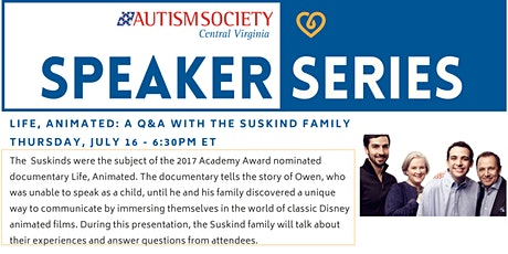 ASCV Speaker Series: Life, Animated - A Q&A with the Suskind Family tickets