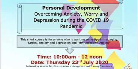Anxiety, Worry and Depression during the COVID 19 Pandemic tickets